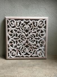 Stoer landelijk oud houten wandpaneel  zand sand 45 cm naturel wit whitewash wandornament wanddecoratie hout panelen luiken