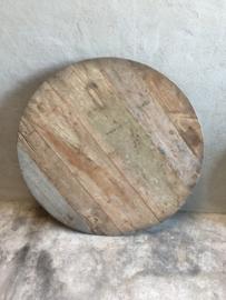 Oud vergrijsd houten tafel tafeltje rond 60 cm wijntafel wijntafeltje landelijk stoer grijs bijzettafel bijzettafeltje