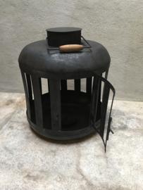 Grote metalen lantaarn windlicht metaal zwart stoer urban shabby industrieel landelijk S