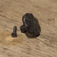 Gietijzeren deurknopje knopje greepje deurknop rond massief zwart grijs metaal landelijk stoer industrieel vintage urban