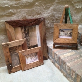 Fotolijst sloophout maat 3 fotolijstje lijst lijstje foto landelijk grof oud hout