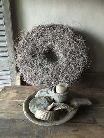 Grote grey wash krans 60 cm vergrijsd landelijk root thin