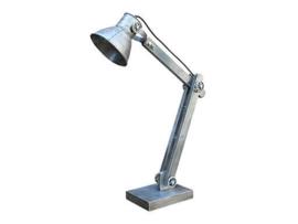 Vintage industriële lamp tafellamp Burolamp bureaulamp wandlamp landelijk industrieel hout metaal grijs zink zinken