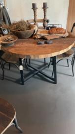 rond teakhouten tafelblad doorsnede 120 cm