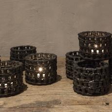 Stoer metalen theelichtje groot industrieel landelijk ketting Brocant metaal kandelaar vintage urban korf korfje