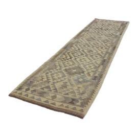 Prachtig lang kelim kleed vloerkleed grijs beige 295 x 81 cm loper tafelkleed gang mat landelijk Sover stoer vergrijsd