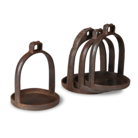 Stoere oude metalen stijgbeugel landelijk industrieel kandelaar bakje
