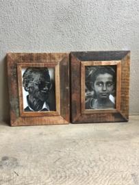Oude houten Fotolijst fotolijstje sloophout landelijk vintage oud hout 21 x 15 cm