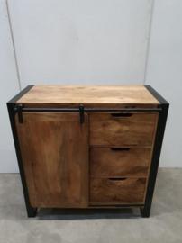 Industriële kast schuifdeur 90 x 44 x H90 cm hout metaal houten metalen landelijk industrieel