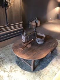 Prachtige oud houten salontafel ovaal ovale tafel 140 x 90 cm landelijk stoer