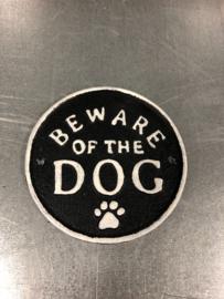 Gietijzeren rond tekstbordje bordje beware of the Dog waakhond