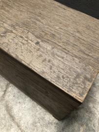 Grote vergrijsd houten kist dekenkist landelijk stoer industrieel grijs hout 100 x 40 x H50 cm