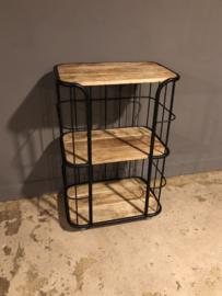 Industriële kast trolley kar schap bakkersrek 60 x 41 x 92cm bakkerskar zwart zwarte rek metaal houten planken