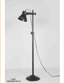 Stoere vloerlamp staande lamp zink industrieel landelijk antraciet mat zwart old look zwartbruin staande lamp leeslamp