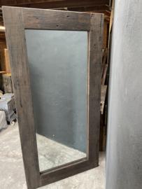 Grove teakhouten spiegel lijst 200 x 100 cm passpiegel hout stoer landelijk industrieel teakhout