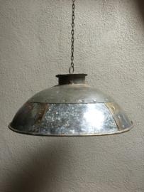 Stoere grijze metalen zinken lampekap incl ketting stoer landelijk industrieel hanglamp