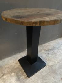 Stoere ronde bartafel sta tafel hangtafel zwart metalen ijzeren onderstel houten blad rond 80cm