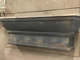 Stoere zwarte houten plank wandconsole wandplank oude old look landelijk