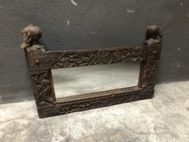 Prachtige oude antiek houten spiegel houtsnijwerk bewerkt landelijk stoer