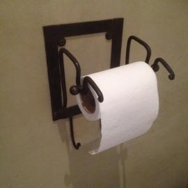 Landelijke smeedijzeren toiletrolhouder smeedijzer wcrolhouder