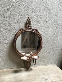 Prachtig metalen landelijke spiegel spiegeltje metaal kandelaar wandkandelaar voor stompkaars of theelichtje