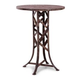 Stoere metalen hoge ronde bartafel sta-tafel staantafel rond hangtafel tafel metaal grijsbruin vintage urban 80 x H107 cm