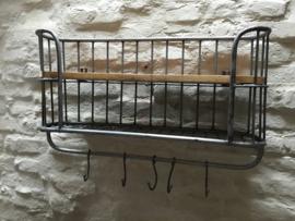 Zwaar metalen met houten wandrek 1-2 legplank 5 haken grijs  handdoekenrek schap kapstok landelijk industrieel