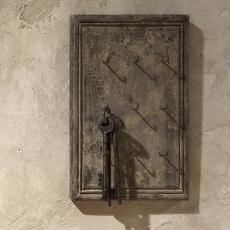 Vergrijsd Houten sleutelrekje sleutelkastje lijst lijstje landelijk vintage Bohemen chiq stoer hout haakjes landelijk