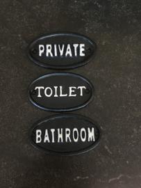 Nostalgische deurbordjes deurbordje bathroom zwart wit tekstbord deur bordje naambordje plaatje gietijzer gietijzeren