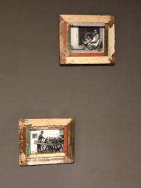 Oude houten Fotolijst fotolijstje colour collor kleur  sloophout landelijk vintage A5 oud hout 21 x 15 cm