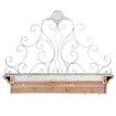Prachtig stoer houten wandconsole wandplank met metalen console decoratie hekwerk hek rek oud oude look old  landelijk brocant plank hout doorgeschuurd