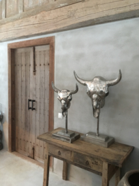 Gaaf chroom nickel metalen bull groot op statief stier schedel gewei hoorns koe stier raam decoratie stoer vintage industrieel landelijk