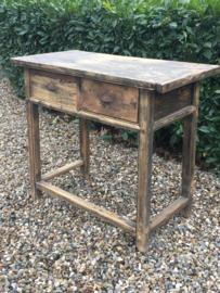 Oude houten haltafel sidetable ladenkast stoer boeren kast buro bureau wastafel werkbank eiland landelijk badmeubel industrieel werktafel werkbank