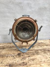 Originele oude scheepslamp fabriekslamp plafondlamp  wandlamp grote spot  hanglamp industrieel vintage landelijk grijs Roestbruin