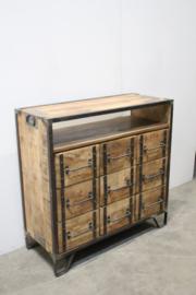 Stoer houten industrieel landelijk kastje kast ladenkast ladekast commode tvkast televisie Sidetable metaal hout 9 laden halkastje