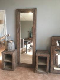 Stoere grove robuust houten railway truckwood 210 x 70 cm sloophouten spiegel landelijk stoer oud hout passpiegel