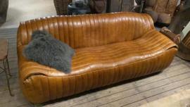 Bruin cognac leren bank bankstel lounge vintage stoer landelijk industrieel