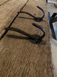 Metalen gietijzeren dubbele kapstokhaak bruin zwart wandhaak haak haakje dubbel landelijk kapstok haak