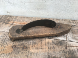Origineel oud vismes keuken werktuig keuken landelijk industrieel brocant hout metaal mes snijwerktuig apparaat