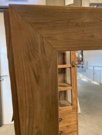 Zeer grove teakhouten houten hout spiegel lijst 160 x 80 cm passpiegel hout stoer landelijk industrieel teakhout