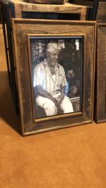 Prachtige grote oud houten lijst fotolijst sloophout stoer landelijk