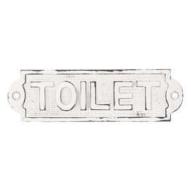 """Gietijzeren plaatje deur bordje naambordje """"toilet"""" wit"""