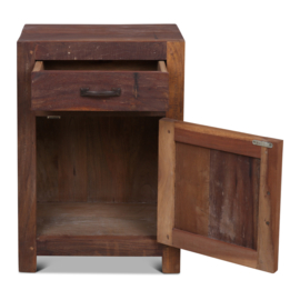 Oud vergrijsd houten Railway truckwood nachtkastjes nachtkastje Milano rechts landelijk vergrijsde deurtje lade laatje industrieel metalen greepje beslag