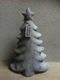 Massief betonnen kerstboom boom kerst boompje Merry Christmas label stoer grijs beton
