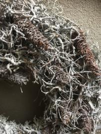 Vergrijsde krans bonsai Cone mos rendiermos  45 cm whitewash wit grijze