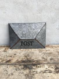 Landelijke metalen brievenbus postvak Postbak metaal Brocant grijs (zink zinken?)