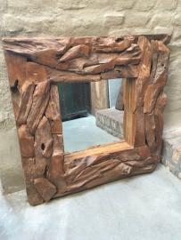 Grof teakhouten spiegel landelijk robuust stoer  200 x 100 cm driftwood drijfhout teakhout wortel