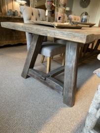Massieve vergrijsd eiken tafel boerentafel eettafel 275 x 100 x H77 cm kloostertafel landelijk robuust stoer eettafel