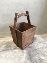Houten mangelbak mand trog schaal landelijk stoer hout hengsel