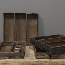 Oud ijzeren bakblik schap bestekbak schaal bak serviesbak vakkenbak grutters 3 vaks landelijk brocant industrieel vintage